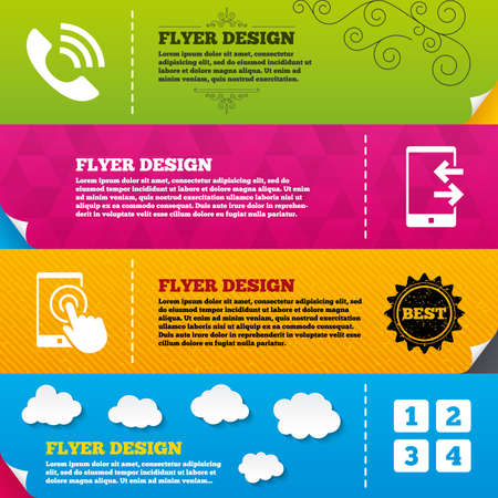 Flyer brochure designs. Phone icons. Touch screen smartphone sign. Call center support symbol. Cellphone keyboard symbol. Incoming and outcoming calls. Frame design templates. Vector Vector