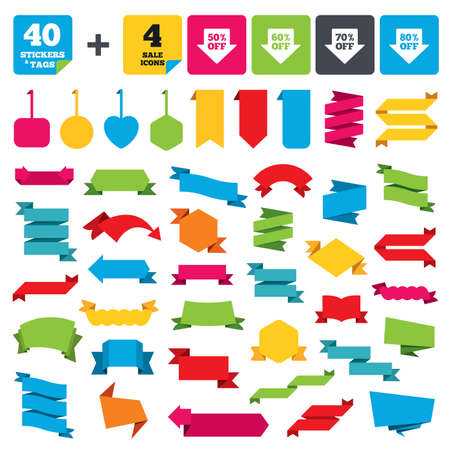 60 70: Web stickers, banners and labels. Sale arrow tag icons. Discount special offer symbols. 50%, 60%, 70% and 80% percent off signs. Price tags set. Vector