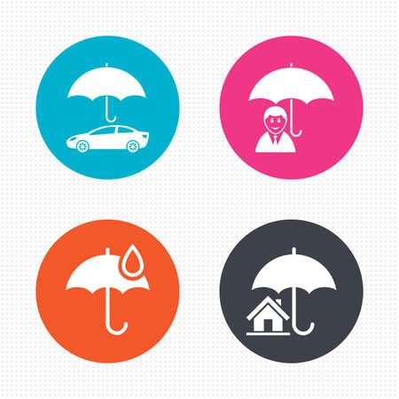 seguros: Botones de c�rculo. La vida, la propiedad inmobiliaria o de seguros de hogar iconos. Paraguas con el s�mbolo de la gota de agua. Signo de la protecci�n del coche. Perfecta textura cuadrados. Vector