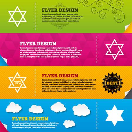 hannukah: Flyer brochure designs. Star of David sign icons. Symbol of Israel. Frame design templates. Vector