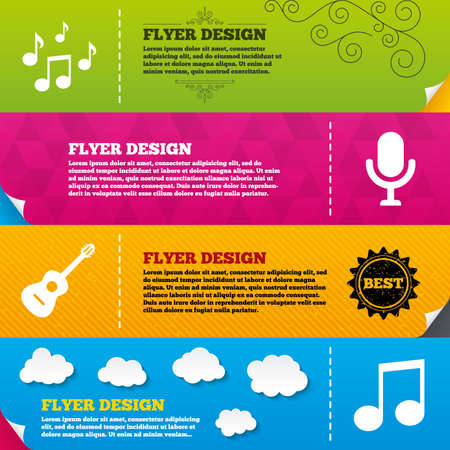 Broschüre Oder Flyer-Design. Musik-Ikonen. Mikrofon-Karaoke-Symbol ...