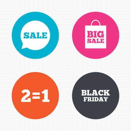 equals: Circle buttons. Sale speech bubble icons. Two equals one. Black friday sign. Big sale shopping bag symbol. Seamless squares texture. Vector