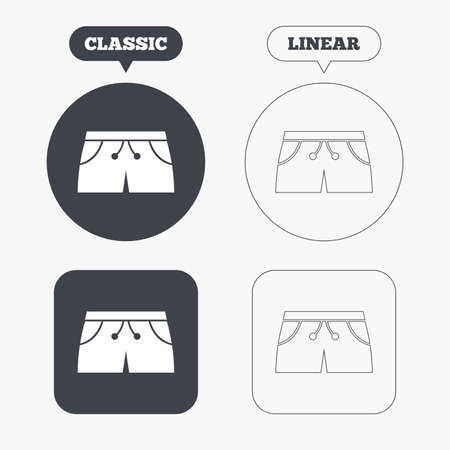 Womens sport shorts sign icon. Clothing symbol. Classic and line web buttons. Circles and squares. Vector Illustration