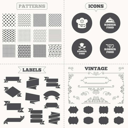 kosher: Seamless patterns. Sale tags labels. Kosher food product icons. Chef hat with fork and spoon sign. Star of David. Natural food symbols. Vintage decoration. Vector