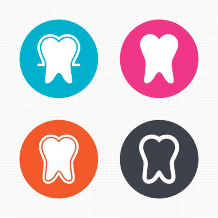 enamel: Circle buttons. Tooth enamel protection icons. Dental toothpaste care signs. Healthy teeth sign. Seamless squares texture. Vector Illustration