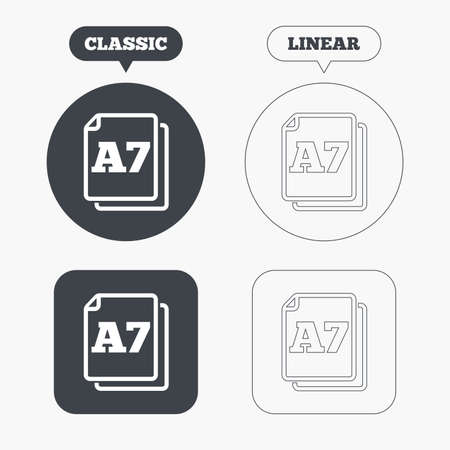 a7: Paper size A7 standard icon. File document symbol. Classic and line web buttons. Circles and squares. Vector