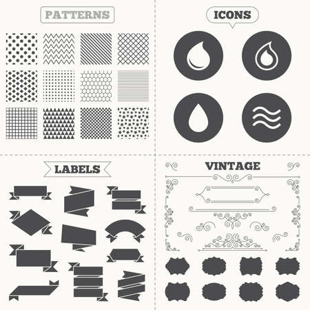 tear drop: Seamless patterns. Sale tags labels. Water drop icons. Tear or Oil drop symbols. Vintage decoration. Vector
