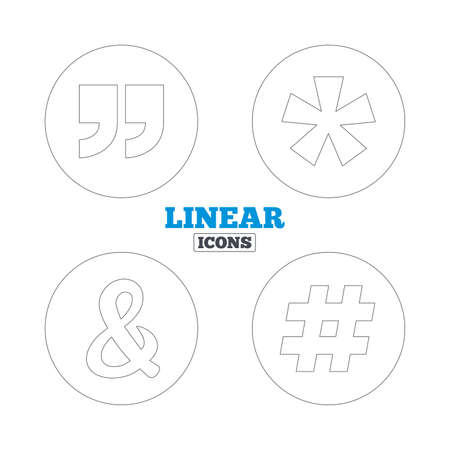 logical: Quote, asterisk footnote icons. Hashtag social media and ampersand symbols. Programming logical operator AND sign. Linear outline web icons. Vector