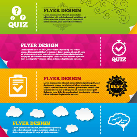 feedback form: Flyer brochure designs. Quiz icons. Human brain think. Checklist and stopwatch timer symbol. Survey poll or questionnaire feedback form sign. Frame design templates. Vector Illustration