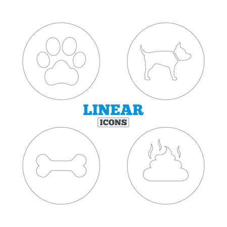 defecating: Pets icons. Dog paw and feces signs. Clean up after pets. Pets food. Linear outline web icons. Vector