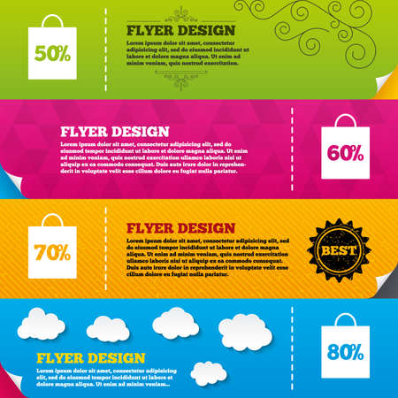 60 70: Flyer brochure designs. Sale bag tag icons. Discount special offer symbols. 50%, 60%, 70% and 80% percent discount signs. Frame design templates. Vector Illustration