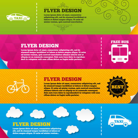 taxi: Flyer brochure designs. Public transport icons. Free bus, bicycle and taxi signs. Car transport symbol. Frame design templates. Vector