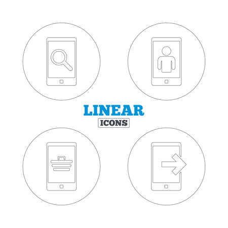 video call: Phone icons. Smartphone video call sign. Search, online shopping symbols. Outcoming call. Linear outline web icons. Vector Illustration