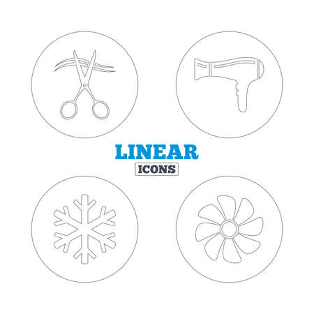 blow drying: Hotel services icons. Air conditioning, Hairdryer and Ventilation in room signs. Climate control. Hairdresser or barbershop symbol. Linear outline web icons. Vector