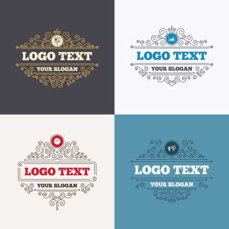 demand: Flourishes calligraphic emblems. Diagram graph Pie chart icon. Presentation billboard symbol. Supply and demand. Man standing with pointer. Luxury ornament lines. Vector Illustration