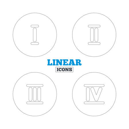 ancient rome: Roman numeral icons. 1, 2, 3 and 4 digit characters. Ancient Rome numeric system. Linear outline web icons. Vector Illustration