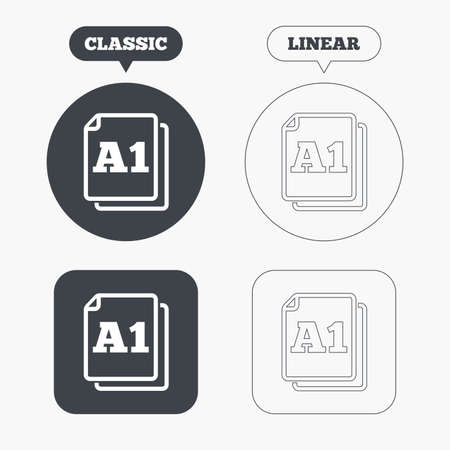 a1: Paper size A1 standard icon. File document symbol. Classic and line web buttons. Circles and squares. Vector Illustration