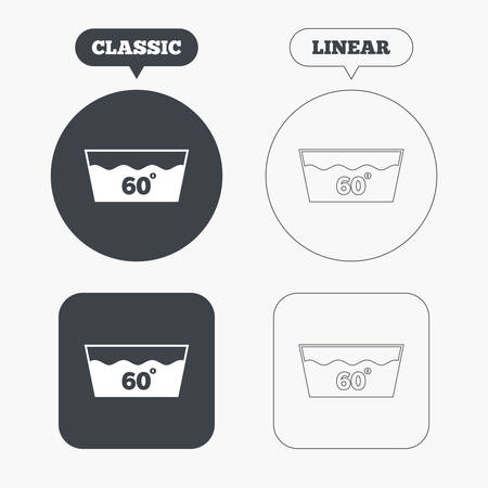 washable: Wash icon. Machine washable at 60 degrees symbol. Classic and line web buttons. Circles and squares. Vector