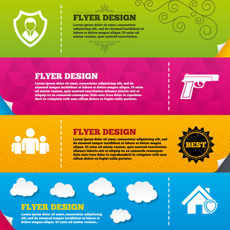 home group: Flyer brochure designs. Security agency icons. Home shield protection symbols. Gun weapon sign. Group of people or Share. Frame design templates. Vector Illustration