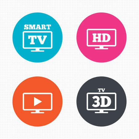 3d mode: Circle buttons. Smart TV mode icon. Widescreen symbol. High-definition resolution. 3D Television sign. Seamless squares texture. Vector Illustration