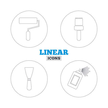 roller brush: Paint roller, brush icons. Spray can and Spatula signs. Wall repair tool and painting symbol. Linear outline web icons. Vector Illustration