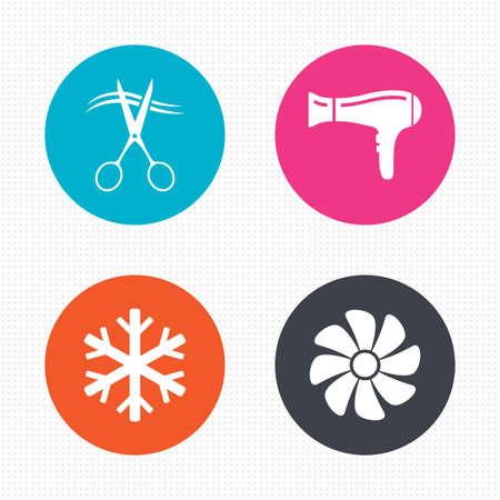 fiambres: Botones de círculo. Iconos servicios del hotel. Aire acondicionado, Secador de pelo y ventilación en los signos de las habitaciones. Control climatico. Peluquero o símbolo de la barbería. Perfecta textura cuadrados. Vector