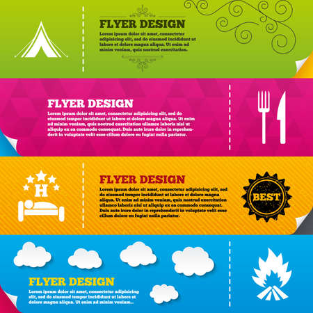fork in road: Flyer brochure designs. Food, sleep, camping tent and fire icons. Knife and fork. Hotel or bed and breakfast. Road signs. Frame design templates. Vector