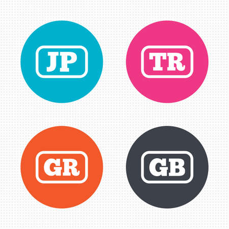 tr: Circle buttons. Language icons. JP, TR, GR and GB translation symbols. Japan, Turkey, Greece and England languages. Seamless squares texture. Vector Illustration