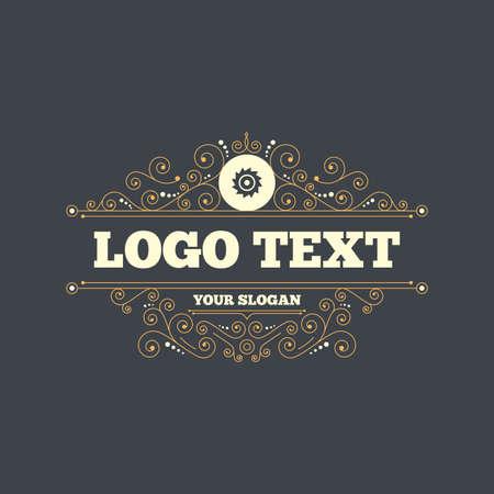 cutting blade: Saw circular wheel sign icon. Cutting blade symbol. Flourishes calligraphic ornament. Vector Illustration