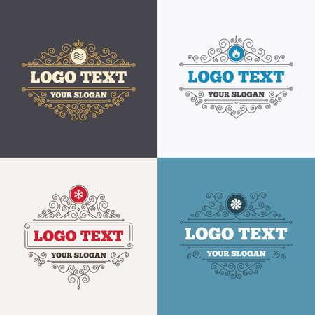 Flourishes Calligraphic Emblems. HVAC Icons. Heating, Ventilating ...