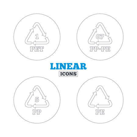polyethylene: PET 1, PP-pe 07, PP 5 and PE icons. High-density Polyethylene terephthalate sign. Recycling symbol. Linear outline web icons. Vector
