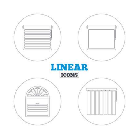 Iconos persianas. Plisse, rollos, vertical y horizontal. Persianas de ventana o símbolos Celosías. Iconos de la web de contorno lineales. Vector