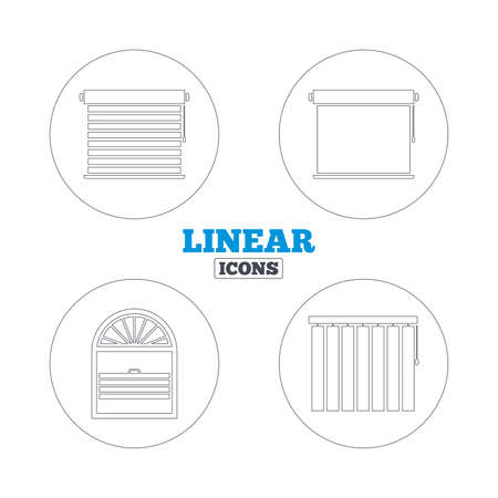 blinds: Louvers icons. Plisse, rolls, vertical and horizontal. Window blinds or jalousie symbols. Linear outline web icons. Vector
