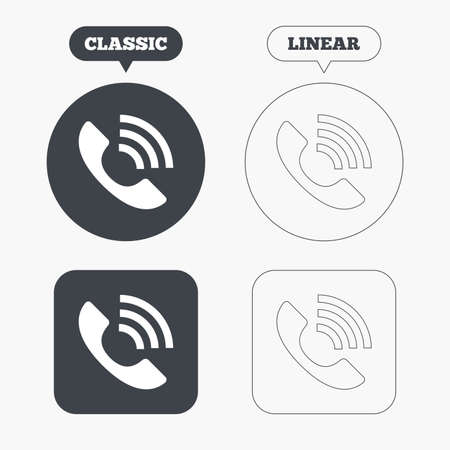 rang: Phone sign icon. Support symbol. Call center. Classic and line web buttons. Circles and squares. Vector