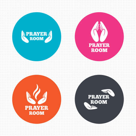 prayer hands: Circle buttons. Prayer room icons. Religion priest faith symbols. Pray with hands. Seamless squares texture. Vector