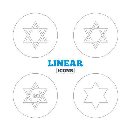 hannukah: Star of David sign icons. Symbol of Israel. Linear outline web icons. Vector Illustration