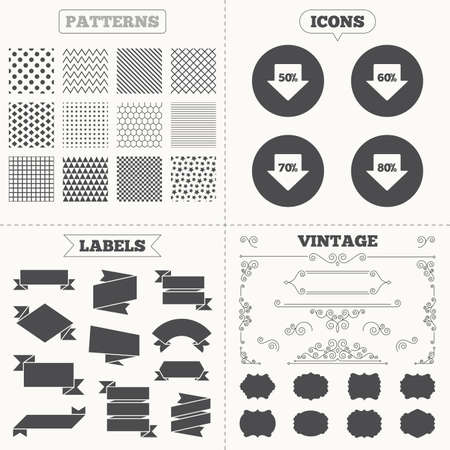50 to 60: Seamless patterns. Sale tags labels. Sale arrow tag icons. Discount special offer symbols. 50%, 60%, 70% and 80% percent discount signs. Vintage decoration. Vector