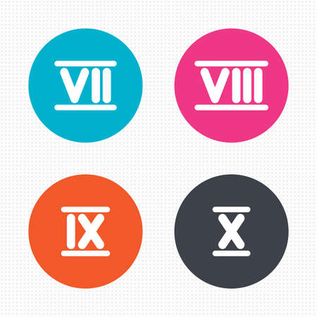 7 8: Circle buttons. Roman numeral icons. 7, 8, 9 and 10 digit characters. Ancient Rome numeric system. Seamless squares texture. Vector Illustration