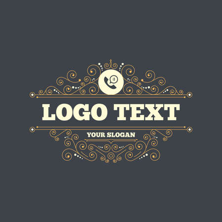 phone symbol: Phone sign icon. Support symbol. Call center. Speech bubble with smile. Flourishes calligraphic ornament. Vector Illustration