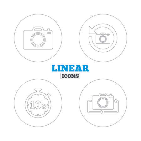 seconds: Photo camera icon. Flip turn or refresh symbols. Stopwatch timer 10 seconds sign. Linear outline web icons. Vector Illustration
