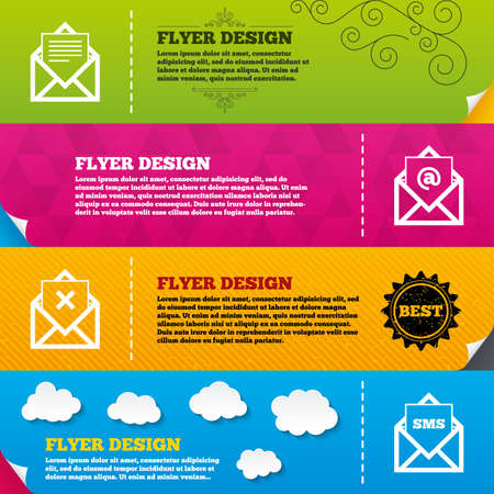 webmail: Flyer brochure designs. Mail envelope icons. Message document symbols. Post office letter signs. Delete mail and SMS message. Frame design templates. Vector