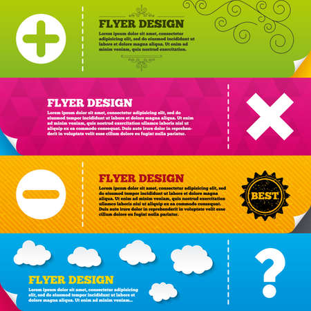 enlarge: Flyer brochure designs. Plus and minus icons. Delete and question FAQ mark signs. Enlarge zoom symbol. Frame design templates. Vector Illustration
