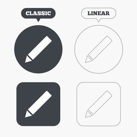 vector button: Pencil sign icon. Edit content button. Classic and line web buttons. Circles and squares. Vector Illustration