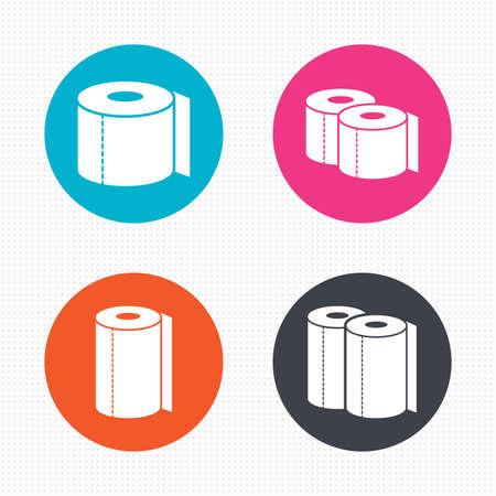 inodoro: Botones de círculo. Iconos de papel higiénico. Cocina símbolos toalla rollo. Signos de papel WC. Perfecta textura cuadrados. Vector