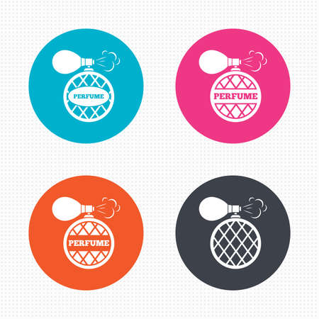 fragrance: Circle buttons. Perfume bottle icons. Glamour fragrance sign symbols. Seamless squares texture. Vector Illustration