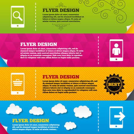 outcoming: Flyer brochure designs. Phone icons. Smartphone video call sign. Search, online shopping symbols. Outcoming call. Frame design templates. Vector