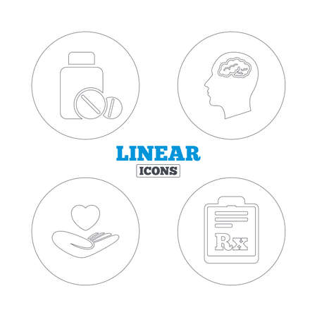 prescription bottle: Medicine icons. Medical tablets bottle, head with brain, prescription Rx signs. Pharmacy or medicine symbol. Hand holds heart. Linear outline web icons. Vector