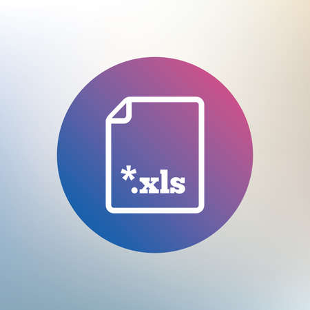 excel: Excel file document icon. Download xls button. XLS file extension symbol. Icon on blurred background. Vector Illustration