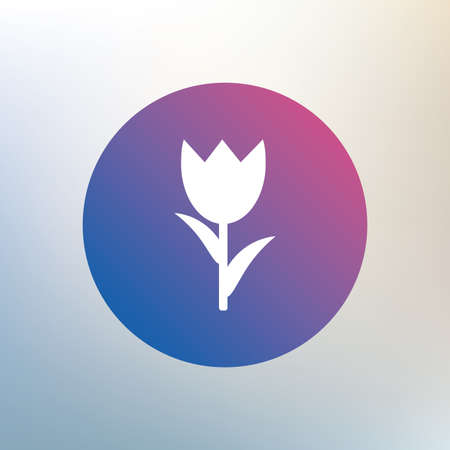 macro: Flower sign icon. Rose symbol. Macro. Icon on blurred background. Vector Illustration