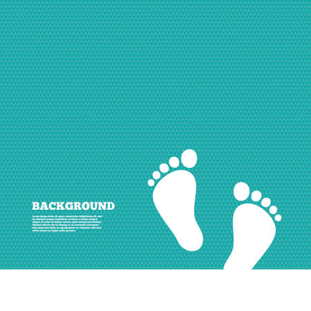 Background with seamless pattern. Child pair of footprint sign icon. Toddler barefoot symbol. Baby's first steps. Triangles green texture. Vector Illustration